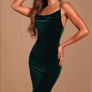 Jazzy Belle Dark Green Velvet Dress